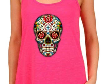Women's Sugar Skull With Roses Graphic Print Polyester Tank Tops for Regular and PLUS - Small ~ 3XL (mu-025-tp)