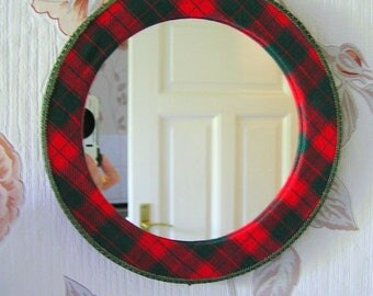 70s Funky Scottish Mirror / Fabric Covered + Handmade / Wood + Glass