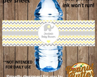 Personalised Baby Shower Elephant chevron WATER BOTTLE peel & stick self adhesive sticker Labels - 5 Per Page