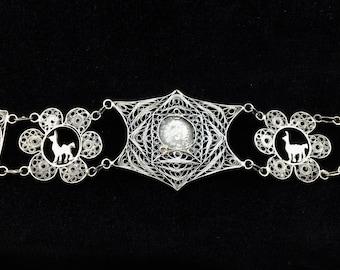 Llama Silver Bracelet,  Peru Silver Bracelet, Silver Indian Head, Vintage Silver Cannetille, Vintage Silver Filigree Bracelet