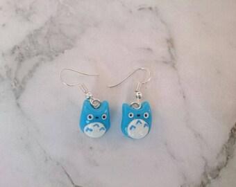 Totoro earrings. Studio Ghibli earrings. My neighbour totoro.Polymer clay charms handmade miniature jewellery