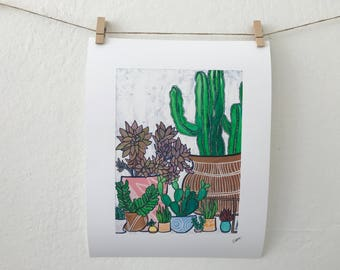 Succulents and Cactus Garden, Fine Art Print, Succulent Wall Art Decor, Succulent Print, Succulent Home Decor
