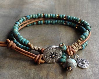Bohemian bracelet boho chic bracelet womens jewelry western bracelet leather bracelet boho bracelet stackable bracelet boho chic jewelry