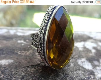 Sale Sterling silver Natural Citrine RING Size 9 - Sterling Silver Ring- Gemstone Ring- GARNET Citrine - Natural Stone Ring size 9 - Citrine