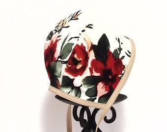 Baby Bonnet - Bonnet - Floral - Red Floral