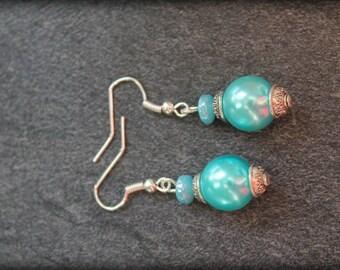 Tibetan turquoise earrings, wedding