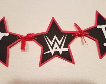 WWE Birthday Party, WWE Birthday Banner, Red Black and White Birthday Banner, Star Banner