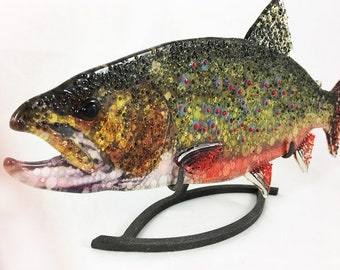 FUSED GLASS FISH. Brookie, Glass Fish, Fused Glass Art, Hanging Glass Fish, Glass Trout, Freshwater Fish, Fused Glass Trout