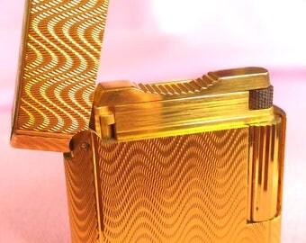 S.T.Dupont Lighter-Gold Plated-Soubreny Wave Pattern-Made in FRANCE-Vintage Lighter-All Season Gift