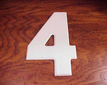 Vintage White Number 4 10 Inches Tall Metal Store Marquee Sign, Four, Wall, Home Decor, Craft, Art Projectm Shelf Display, Home Decor