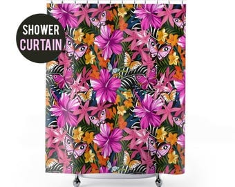 Shower Curtain Bright Colored Hibiscus Butterfly Tropical Pattern Shower Curtain