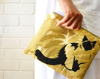 Gold Monstera Leaf Ragdoll Birman Pickle Cat Print Zipper Pouch