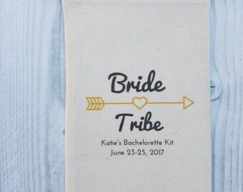 10 Bachelorette Party Favor, Hangover Kit, Survival Kit, Recovery Kit, Emergency Kit, Custom Bachelorette Party Bags - Bride Tribe