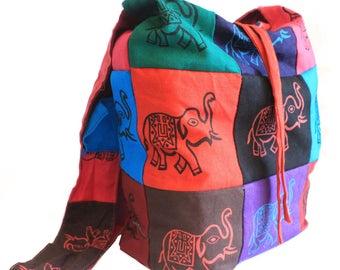 Cotton Hippy Boho Festival Sling Shoulder BAG Elephant
