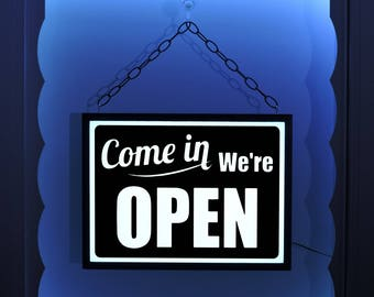 Come In We're Open, Hanging Open Sign, Open Window Sign, We Are Open Sign, Open Sign, Lighted Open Sign, Business Sign, Open Closed Sign