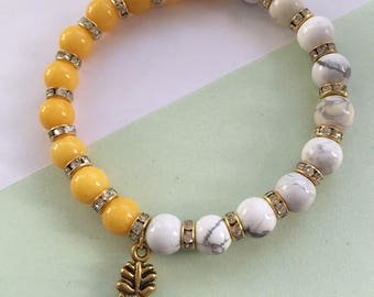 Yellow and white pineapple bracelet howlite bead gemstones gold diamonte beads gold silver pineapple charm gift for her gift for bestie