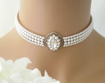 Wedding choker, Swarovski multi-strand pearl necklace, Vintage style bridal choker, Crystal and pearl wedding jewelry, Pearl necklace