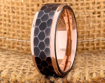 Tungsten Wedding Ring Band Mens Women's Wedding Ring Anniversary Ring Flat 8mm Rose Gold Matching Ring Set Perfect Gift Mens New Design Ring