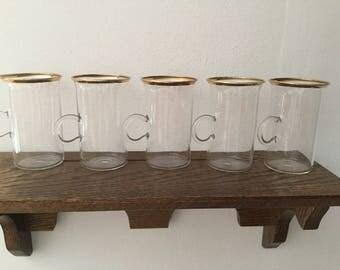 Set of 5 CLEAR Glass Gold Rim Irish Coffee Mugs      Thin Light Weight Gold Trim Coffee Mugs   Vintage Delicate Clear Glass Mugs