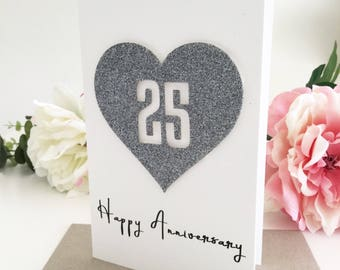 25 Year Anniversary, Silver Anniversary, 25th Anniversary Gift, Gift for Couple, Custom Anniversary Card, Wife Gift, Gift for Husband