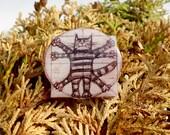 Cat Leonardo da Vinci  pin Animal brooch animal jewelry, cat brooch, cat jewelry clay cat  clay pin Vitruvian cat.