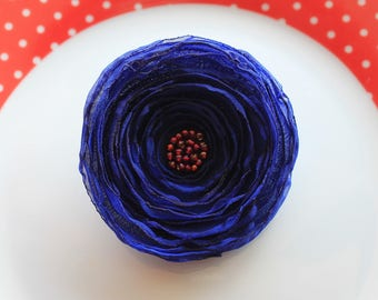 Navy Blue poppy flower brooch