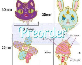 PREORDER Melty Melancholic Pins - Hard Enamel Creepy Cute Lapel Pins - Individual or Sets