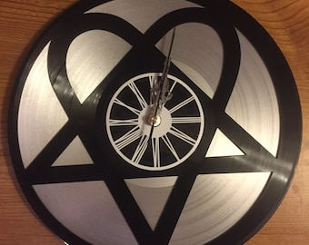 Wall clock vinyl double layer Heartagram HIM