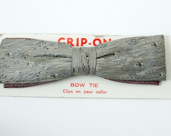 Gray Vintage Clip On Bow Tie 1950s Straight Textured Bowtie