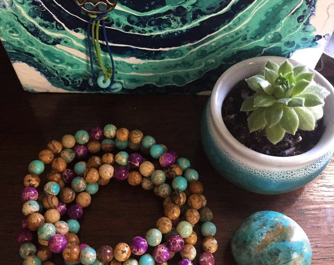 Picture, Purple + Teal Impression Jasper | Spiritual Junkies | Yoga + Meditation | Stackable Mini Mala Bracelet | 6 mm Beads