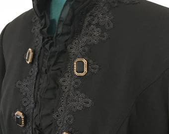 Ladies Pirate Gypsy Renaissance Steampunk Black Lace Long Jacket Size 4