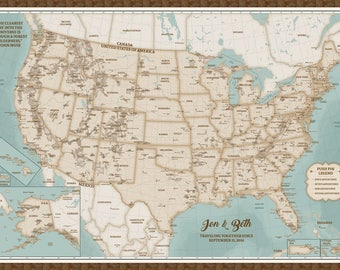 US Map National Park Map Poster Illustrated USA Map - Us map national parks