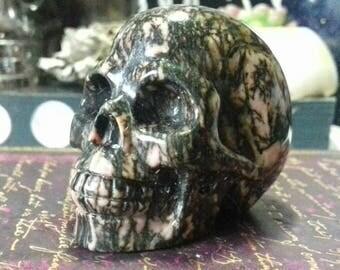 Rhodonite Hand Carved Crystal Skull - Crystal Healing, Rhodonite Skull, Crystal Carving, Crystal Skull, Skull Carving, Crystal Energy  RH6