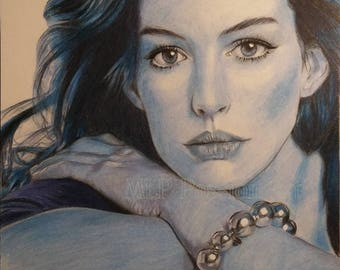 Anne Hathaway, colored pencils drawing