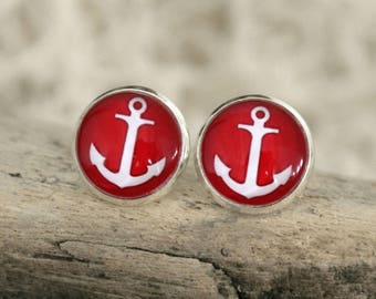 """Ear stud """"anchor"""", red"""