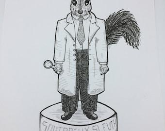 Squirrelly Slueth squirrel Original marker ink Illustration
