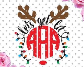 Lets get lit Svg, reindeer svg, antlers svg, reindeer sdxf, Christmas SVG, DXF, Cricut Design Space, Silhouette Studio, Christmas Lights svg
