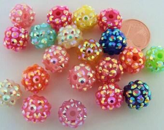 20 perles Rondes 12mm Acrylique MIX COULEURS aspect strass RES-08 Création bijoux