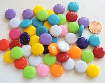 Lot 50 perles Galets pastilles 14x5mm Acrylique MIX COULEURS RES-41 création bijoux