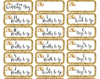 Wedding Countdown Stickers - kawaii with a gold glitter effect edge for ECLP, Happy Planner, Monthly Views or TN's etc