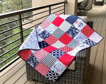 Nautical quilt | Etsy : nautical patchwork quilt - Adamdwight.com