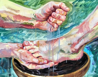 Washing of the Feet, Jesus print of original painting, multiple sizes available