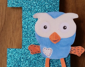 Hoot Number 1 Cake Topper with Bow 1st First Birthday Custom Made Blue Glitter Birthday Cake Decoration