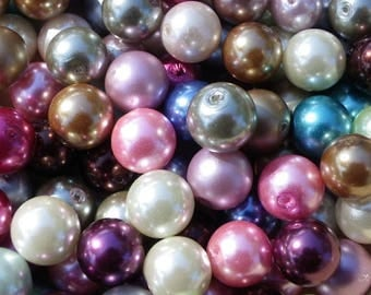 mixed lot of 300 glass beads 10 mm mother of Pearl