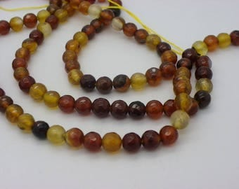 45 46 agate 8 mm Brown agate and beige.kaki faceted sold yarn