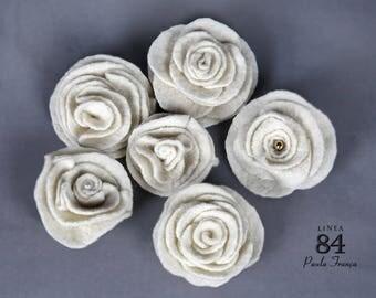 Set 6 Spilla a Fiori Bianco Arvorio /Lana -  Acessori Chic Invernale
