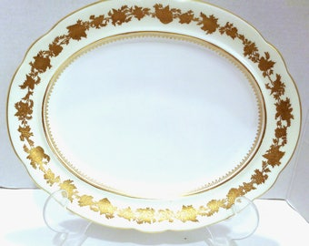 Hammersley/Platter/Antique/Art Deco/Collectible China/Serving Platter/Hammersley and Co/Gold Gilt/Made in England/English Bone China