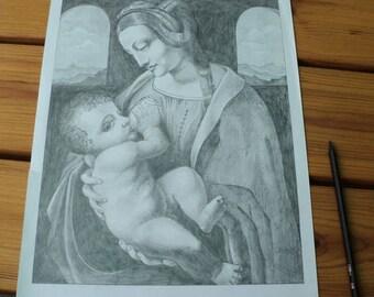 "Pencil of rice-pencils ""Madonna Litta"" Original pencil drawings by Leonardo da Vinci Picturesque, detailed, black, graffiti"