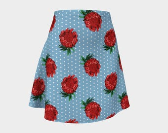 Beautiful Australian Native Floral Print - Gorgeous Protea and Polka Dots - A-line Skirt - Skater Skirt