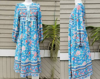 India inspired aqua floral dress poet sleeves // small